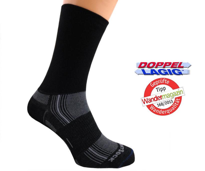 Die Wrightsock Stride sind doppellagige Anti-Blasen-Socken, die nicht nur im Bergzeit-Test gelobt wurden, sondern auch im Wandermagazin als Empfehlung genannt wurden (Foto: Amazon).